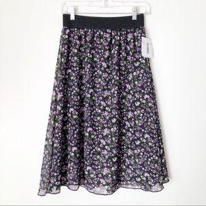 LuLaRoe Lola Purple & Black Floral Skirt NWT
